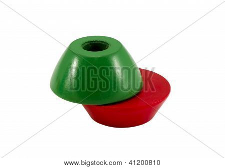 Green Red Color Wooden Toy Bricks Hole Center