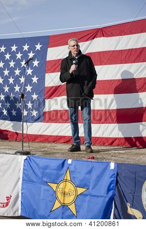 Idaho State Senator Speaks At Rally.