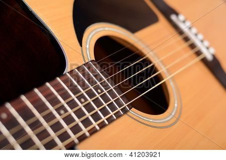 Acoustic Guitar With Shallow Depth Of Field