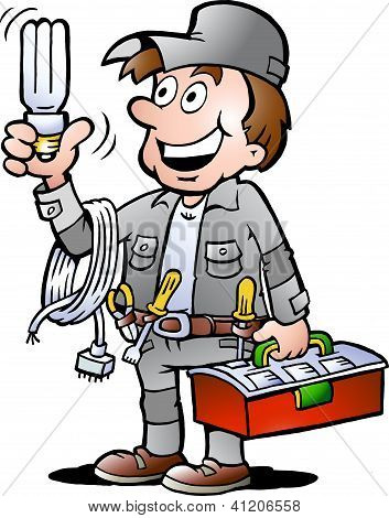 Hand-drawn Vector Illustration Of An Happy Electrician Handyman, Holding A Energysaving Light Bulb