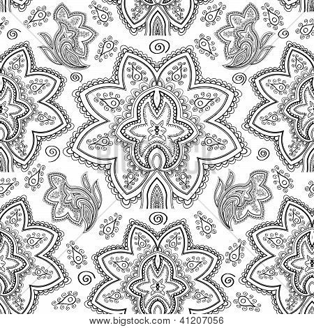 Seamless black and white paisley pattern