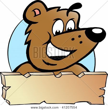 Hand-drawn Vector Illustration Of An Happy Proud Brown Bear - Logo Design