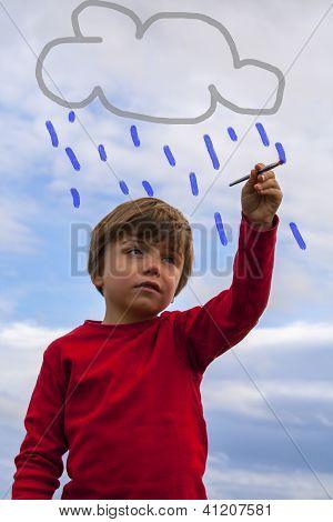 Kid Painting Rain