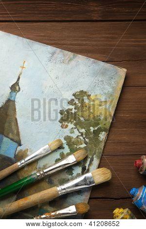 Постер, плакат: Кисть и живопись на дерево фона, холст на подрамнике