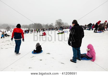 Families Enjoying Sledding In The Snowy Weather On Parliament Hill