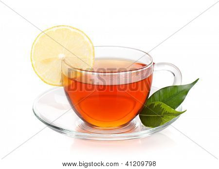 Glass cup of black tea with lemon slice. Isolated on white background