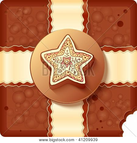 Christmas chocolate box with badge and ribbon
