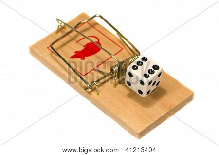 Mousetrap With Casino Dice Concept Isolated On White