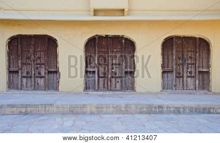 Three Old Doors In Jaipur, India