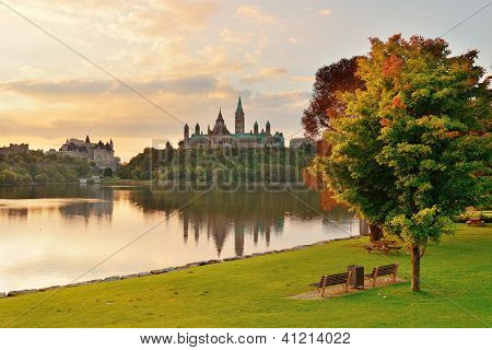 Ottawa city skyline at sunrise in the morning park view over river