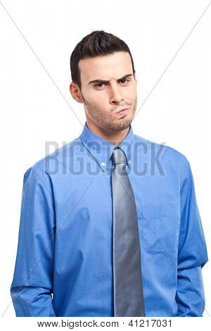Businessman expressing doubts and anger