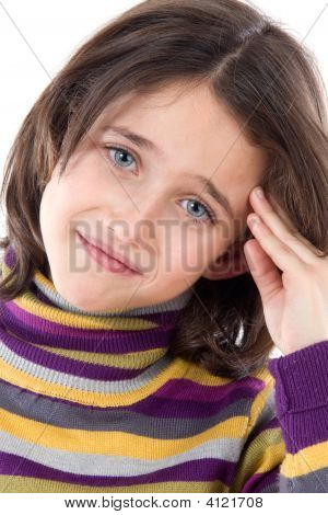 Adorable Girl Whit Headache