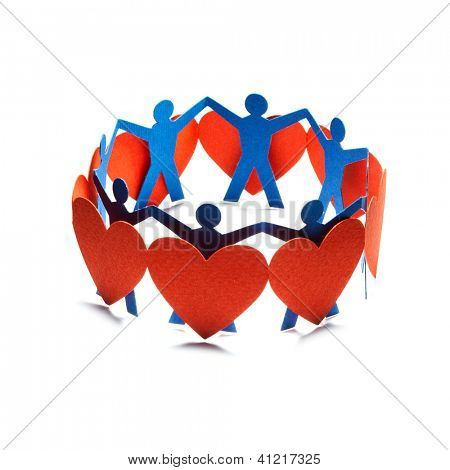 Group of red valentine hearts and people connected in chain, paper craft.