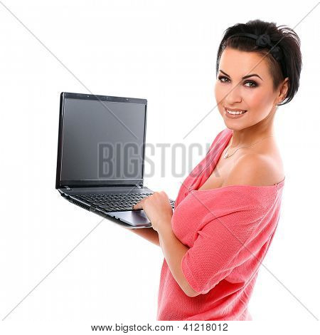 Young happy woman with laptop isolated over white background