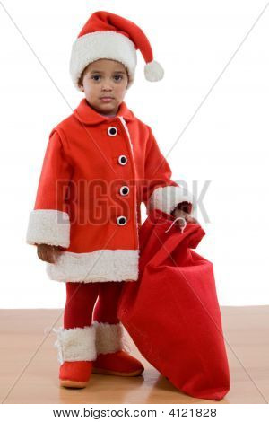 African Baby Girl With Costume Of Santa Claus