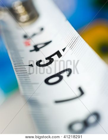 yardstick close up on a blur background