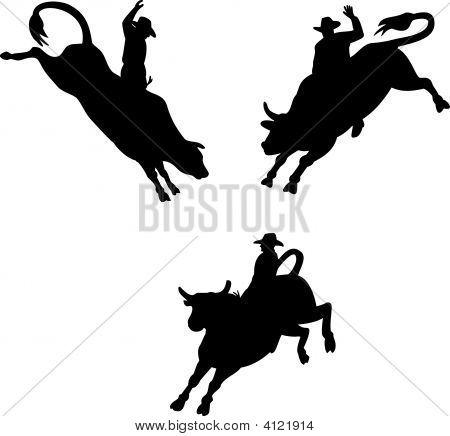 Bull Riding Silhouette