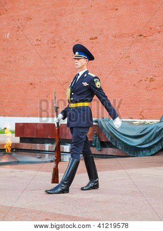 Guard Of Honor At The Kremlin Wall In Moscow, Russia