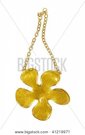 gold necklace with flower