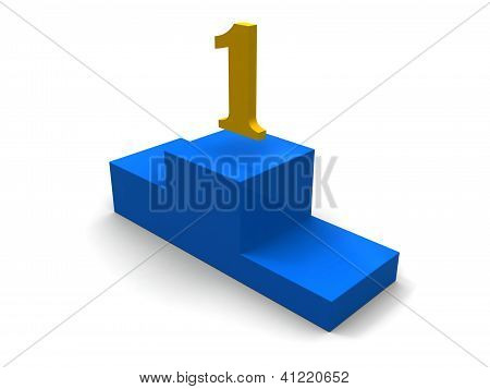 3d isolated sport blue podium with first place.