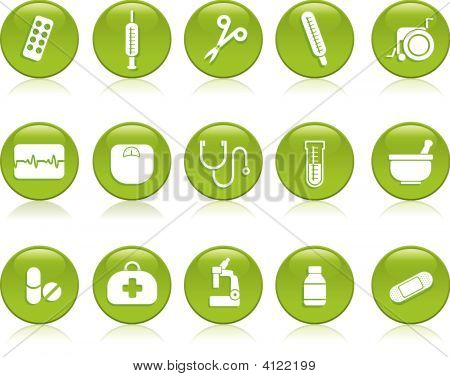 Medical Icons In Green