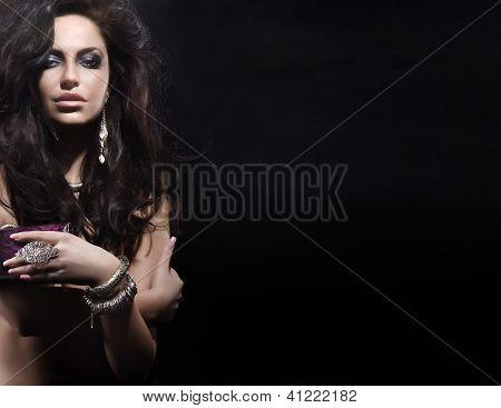 Portrait Of Beautiful Woman Wearing Jewellery