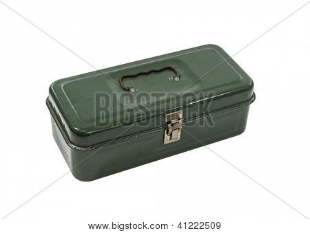 Vintage small green rusty metal tool box isolated with clipping path.