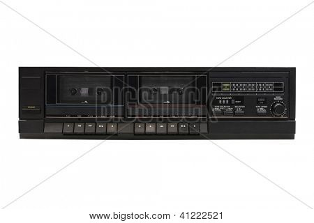 Vintage dual dubbing audio cassette player isolated with clipping path.