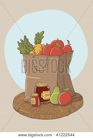 shopping bag with fruits and vegetables