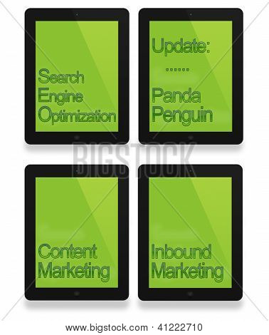 Black tablet with seo, penguin, panda and business concept