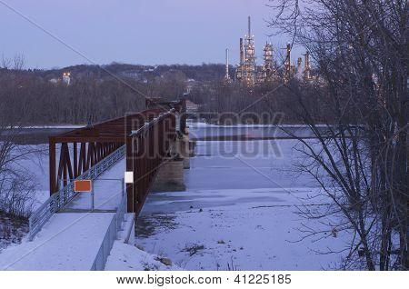 Rock Island Swing Bridge And Refinery