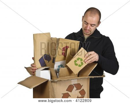 Man Recycling Cardboard