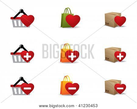 Valentine's day Shopping icons set