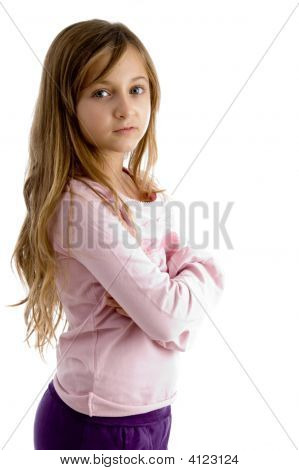 Arm Folded Girl Looking At Camera