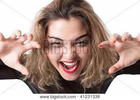 A Strong Image Of A Very Upset And Emotional Woman Crying And Screaming. Isolated On White.
