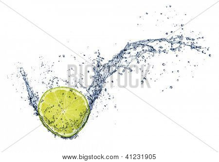Fresh lime in water splash, isolated on white background