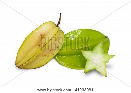Carambole Or  Star Fruit On White