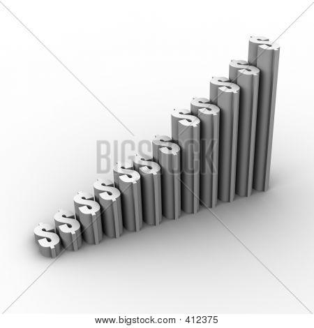 Gráfico de crecimiento (signo de dinero) en blanco