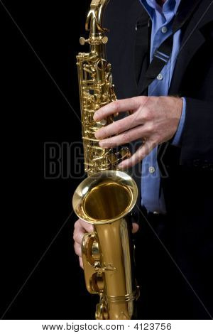 Jazz Musician Playing Saxophone