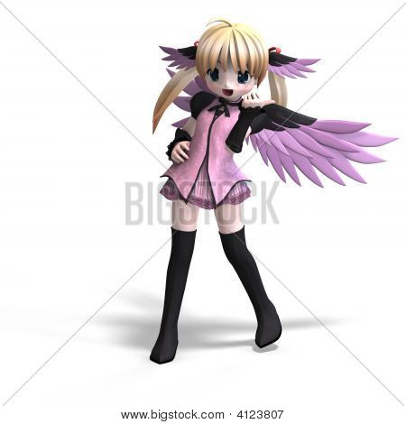 Sweet Fantasy Angel With Wings Anf Pigtail. With Clipping Path