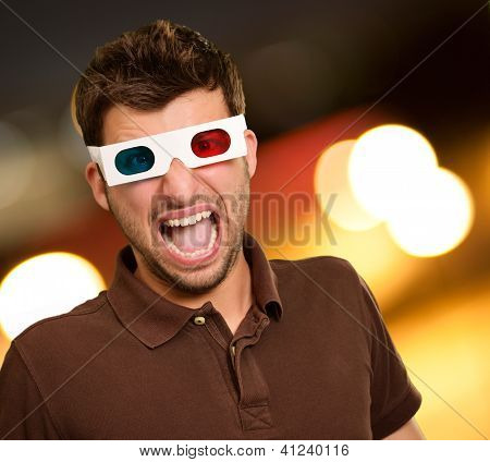 Scared Man Wearing 3d Glasses, Outdoors