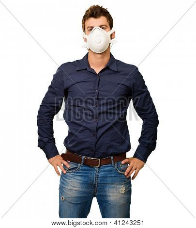 Portrait Of A Man Wearing Mask On White Background