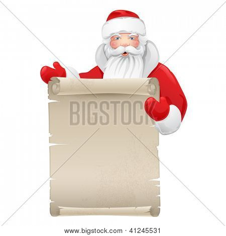 Santa claus with the manuscript. Illustration on a Christmas theme. Raster copy of vector file