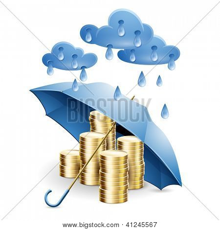 Money under the umbrella. Illustration on the theme of financial guarantee. Raster copy of vector file