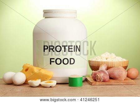 jar of protein powder and food with protein, on green background