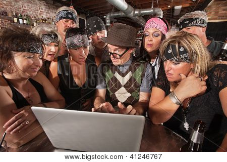 Biker Gang Interested In Nerd On Laptop