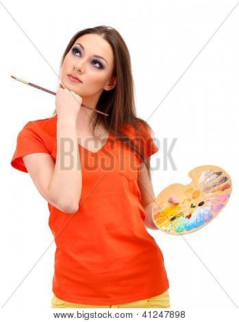 beautiful young woman painter with brushes and  palette, isolated on white