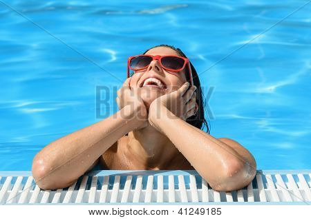 Happiness And Relaxation In Summer Pool