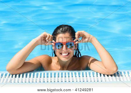 Happy Woman Enjoying Pool In Tropical Resort On Summer
