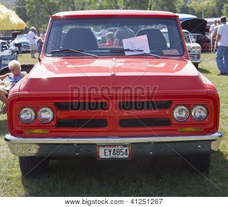 1972 Red Gmc Truck Front View